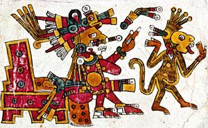 Pic 4: Xochipilli, patron god of the calendar sign Monkey (Codex Borgia, p13)
