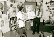 Pic 9: Graciela and Ian introducing children to 'The Skeleton at the Feast'