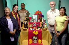 Pic 13: Graciela, TES staff Louise Mills & Sharon Grant, Ian and granddaughter Joanna in the studio preparing the ofrenda...
