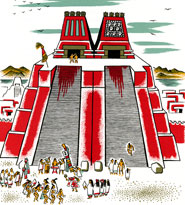 Pic 9: Miguel Covarrubias's reconstruction of the Great Temple of the Aztecs