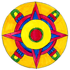 Pic 10: Aztec Sun - illustration by Phillip Mursell