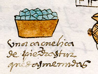 Pic 5: A pottery bowl of turquoise stones - tribute item in the Codex Mendoza, folio 40r