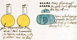 Pic 6: Turquoise as tribute in the Codex Mendoza, folio 40r