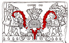 Pic 6: Adapted from a drawing of the Tizoc and Ahuízotl Dedication Stone in 'Aztec Art' by Esther Pasztory, New York, 1983, p. 150