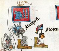 Pic 10: Ahuítzotl dies in the year 10-Rabbit (1502), Codex Telleriano-Remensis, facsimile edition by Eloise Quiñones Keber, 1995, folio 41r