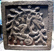 Pic 12: Plaque with an image of an 'ahuízotl', National Museum of Anthropology, Mexico City