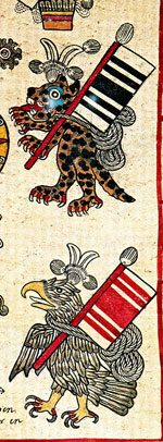 Pic 5: Jaguar and Eagle (warriors) holding banners of sacrifice, Codex Borbonicus