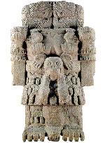 (Pic 2) Coatlicue (meaning 'Skirt of Snakes'), earth goddess and Huitzilopochtli's mother. Museo Nacional de Antropología, Mexico City.