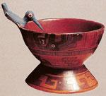 (Pic 8) Mixtec cup with hummingbird, late post-classic, Zaachila, Museo Nacional de Antropología, Mexico City.