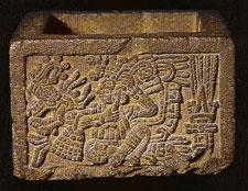 (Pic 10) Zacatapayolli box with Huitzilopochtli performing self-sacrifice. Museo Nacional de Antropología, Mexico City.