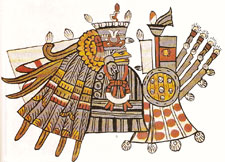 (Pic 11) Huitzilopochtli at Panquetzaliztli, Codex Tudela p25