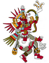 Pic 1: Drawing by Miguel Covarrubias of Quetzalcóatl from the Codex Borbonicus; note the shell hanging from his chest!