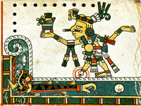Pic 4: Tezcatlipoca, whose foot has been taken by Tlalteotl, earth goddess. Codex Féjérvary-Mayer
