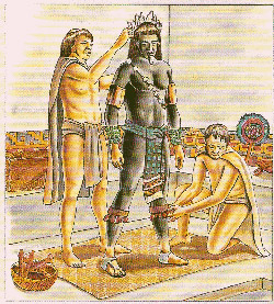 Pic 9: The preparation of Tezcatlipoca's live image or 'Ixiptla' shortly before sacrifice. Raúl Cruz, Arqueología Mexicana, no. 34
