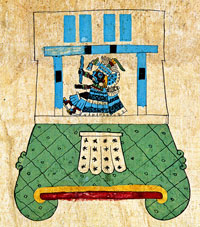 Pic 13: Tlaloc seated on his mountain throne, Codex Borbonicus.
