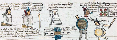 Pic 3: Repairs are considered by an official, Codex Mendoza (original in the Bodleian Libary, Oxford)