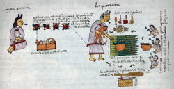 Pic 5: Aztec midwife performing bathing ceremony, Codex Mendoza, fol. 57r (detail)