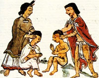 Pic 6: The Aztec 'stretching' ceremony, Florentine Codex