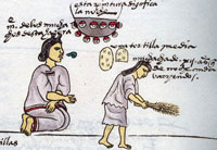 Pic 12: An Aztec mother makes her daughter sweep the house as a punishment during the night. Codex Mendoza, folio 60r (detail)