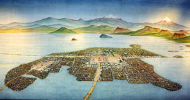 Pic 2: painting of the capital city of the Aztecs, Tenochtitlan by Miguel Covarrubias, National Museum of Anthropology, Mexico City