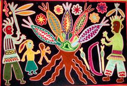 Pic 8: Traditional Huichol yarn weaving celebrating the worship of corn/maize