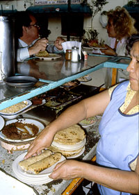 Pic 9: A pair of corn tortilla rolled 'tacos', as consumed by millions of Mexicans every day; these are at the original 'Tacos Beatriz', central Mexico City