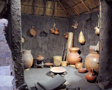 Model of the interior of a simple Aztec house, National Museum of Anthropology, Mexico City