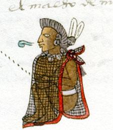 Pic 10: Master of youths at the 'telpochcalli', commoner school, Codex Mendoza, folio 57r