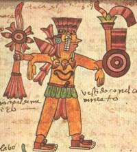 Xipe Totec's finery presented in the Codex Tudela