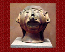 The face of Xipe Totec in clay, National Museum of Anthropology, Mexico City