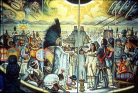 The Aztec leader Moctezuma (Montezuma II) meets Hernan Cortes