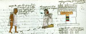 A noble youth entering religious school in the Codex Mendoza