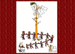 Illustration by Miguel Covarrubias of the Xócotl Uetzi pole-climbing competition
