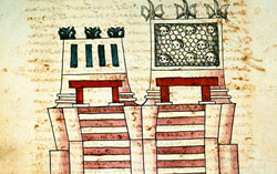 Top of the Templo Mayor (Huitzilopochtli's mini-temple to the right), Codex Ixtlilxochitl, folio 112v