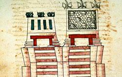Top of the Templo Mayor (Huitzilopochtli's mini-temple to the right), Codex Ixtlilxochitl, folio 112v