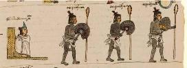 Moctezuma on his 'icpalli' (throne) facing his daughter Tecuichpo and son Tlacahuepantzin; Codex Cozcatzin, folio 2