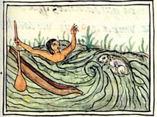 A man drowning in the Florentine Codex (Book XI) - spot the Ahuizotl!