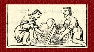 Planting flowers, Florentine Codex Book XI