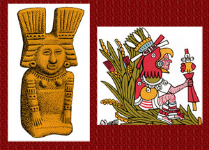 Xochiquetzal (goddess of flowers and love) and Xochipilli (god of music, dance, games and love) were worshipped mainly by Xochimilcans, who grew flowers and plants on the 'chinampas' (top picture)