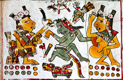 Pic 4: Xochiquetzal (left) and a priestess (right - or is this an 'uncovered' face of Xochiquetzal?) seduce a single warrior, Codex Borgia