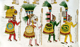 Pic 7: High-ranking Aztec officers with feathered costumes, banners, back devices and shields. Codex Mendoza, folio 67r.