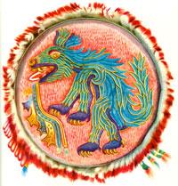 Pic 11: Colour illustration of Aztec feather mosaic shield in the Museum für Völkerkunde, Vienna, Austria.