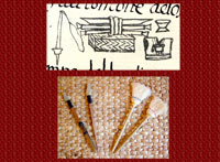 Symbolic birth gifts for an Aztec girl (top, Florentine Codex, Chapter VI), and for boy and girl (bottom)