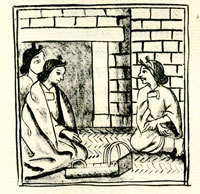 Consultation with a midwife, Florentine Codex, Chapter VI