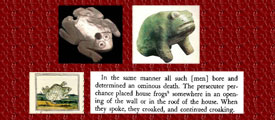 Text and toad image from the Florentine Codex, Books V and XI; frog made with mother of pearl; Aztec sculpture of a frog