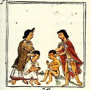 Aztec parents stretching their children, Florentine Codex Book II