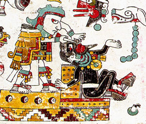 Pic 3: Ritual nose-piercing by a Mixtec lord, Codex Zouche-Nuttall