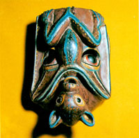 Pic 5: A rare Mexican bat mask showing the bat in its natural resting position, with its head pointing down; from Las Sauces, Guerrero