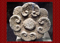 Aztec representation of a flower, sculpted in stone, National Museum of Anthropology, Mexico City