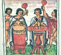 Aztec musicians, Florentine Codex, Book 4